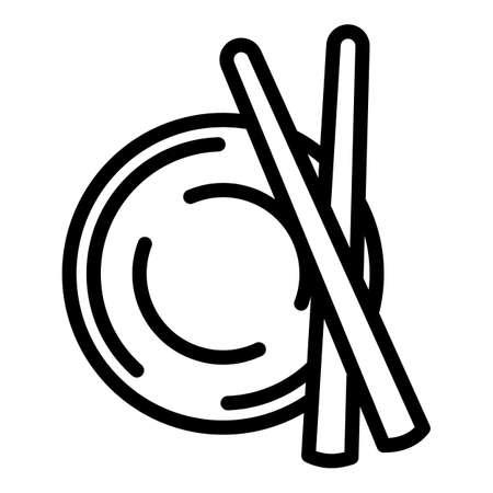 Sushi bowl sticks icon. Outline sushi bowl sticks vector icon for web design isolated on white background 向量圖像