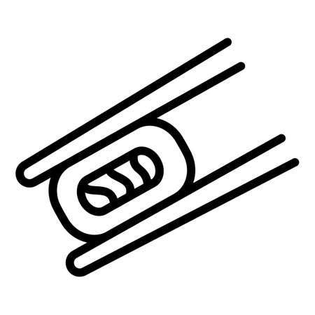 Sushi roll bamboo sticks icon. Outline sushi roll bamboo sticks vector icon for web design isolated on white background