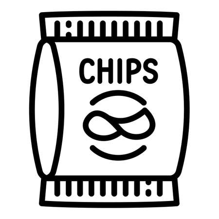 Chips package icon. Outline chips package vector icon for web design isolated on white background