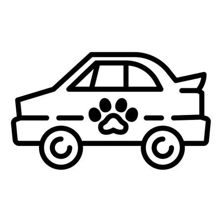 Pet car taxi icon. Outline pet car taxi vector icon for web design isolated on white background Vector Illustration
