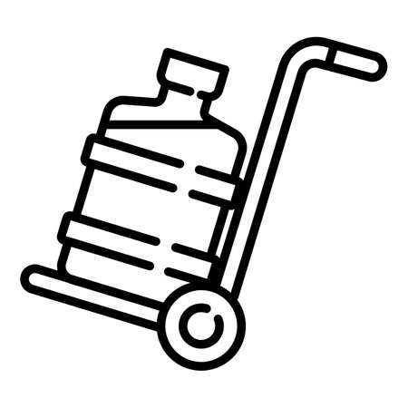 Water cooler bottle on cart icon. Outline water cooler bottle on cart vector icon for web design isolated on white background