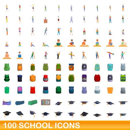 100 school icons set. Cartoon illustration of 100 school icons vector set isolated on white background