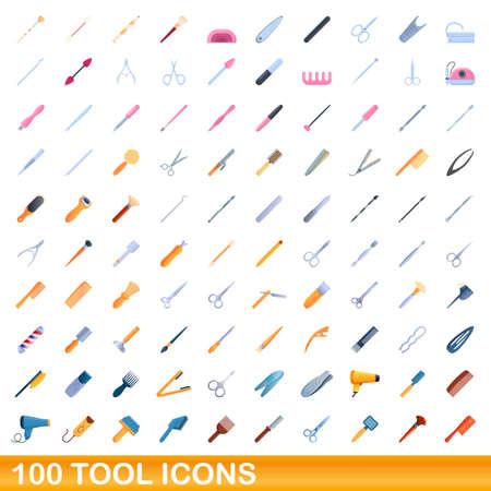 100 tool icons set. Cartoon illustration of 100 tool icons vector set isolated on white background Illusztráció