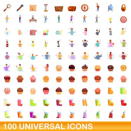 100 universal icons set. Cartoon illustration of 100 universal icons vector set isolated on white background