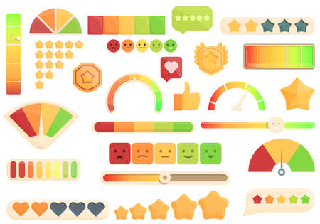 Satisfaction level icons set cartoon vector. Customer smile. Good face
