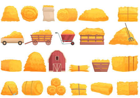 Bale of hay icons set cartoon vector. Agriculture haystack. Dried farm hay