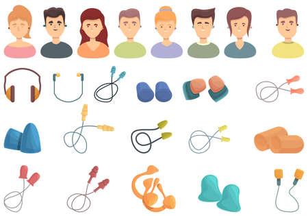 Earplugs icons set cartoon vector. Ear plug protection. Medical auditory