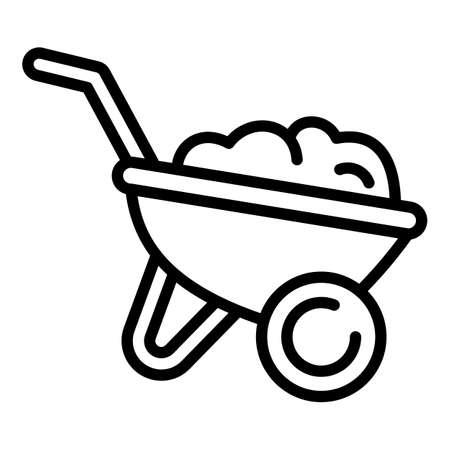 Gardening ground wheelbarrow icon. Outline gardening ground wheelbarrow vector icon for web design isolated on white background