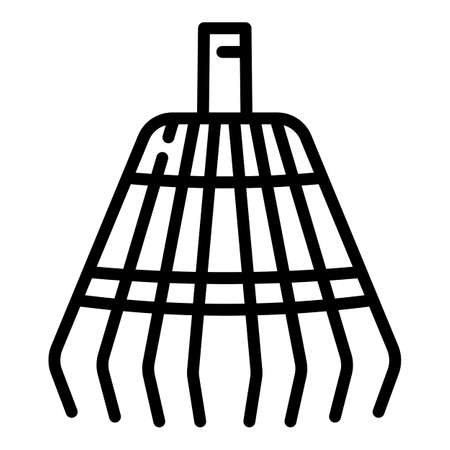 Gardening leaf rake icon. Outline gardening leaf rake vector icon for web design isolated on white background
