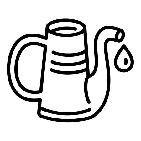 Metal watering can icon. Outline metal watering can vector icon for web design isolated on white background