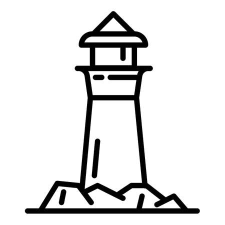 Sea lighthouse icon. Outline sea lighthouse vector icon for web design isolated on white background