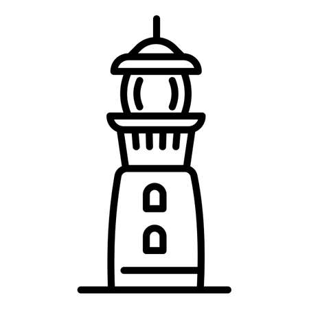 Port lighthouse icon. Outline port lighthouse vector icon for web design isolated on white background