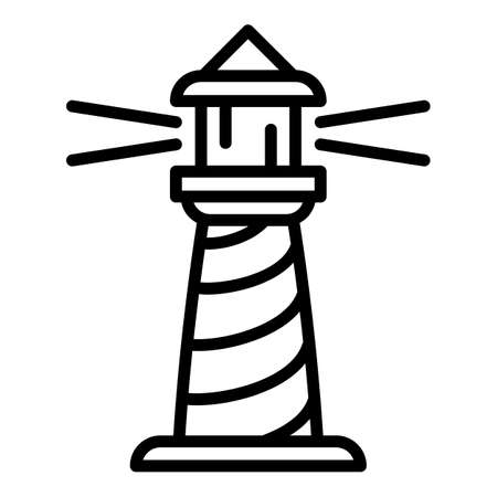 Tower lighthouse icon. Outline tower lighthouse vector icon for web design isolated on white background