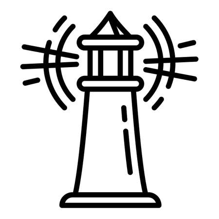 Warning lighthouse icon. Outline warning lighthouse vector icon for web design isolated on white background Illusztráció