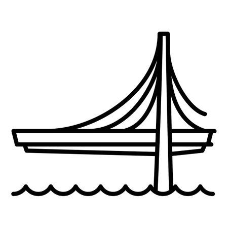 Bridge road icon. Outline bridge road vector icon for web design isolated on white background