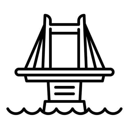 City bridge icon. Outline city bridge vector icon for web design isolated on white background Illusztráció