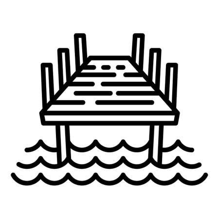 Wood bridge icon. Outline wood bridge vector icon for web design isolated on white background Illusztráció