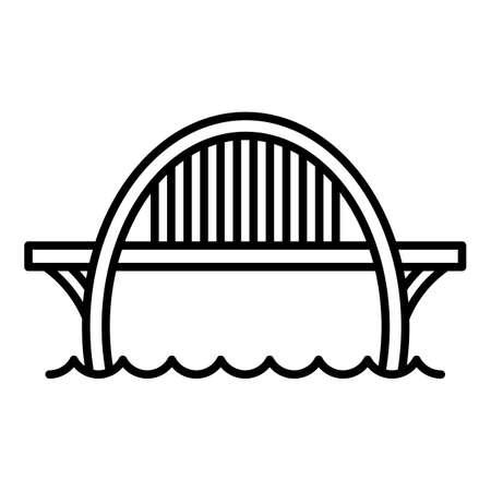 Construction bridge icon. Outline construction bridge vector icon for web design isolated on white background