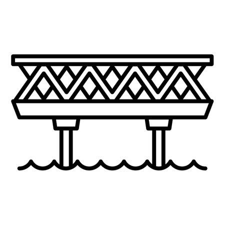 Railway bridge icon. Outline railway bridge vector icon for web design isolated on white background