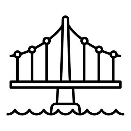 Building bridge icon. Outline building bridge vector icon for web design isolated on white background Illusztráció