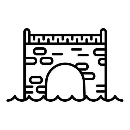 Brick bridge icon. Outline brick bridge vector icon for web design isolated on white background Illusztráció