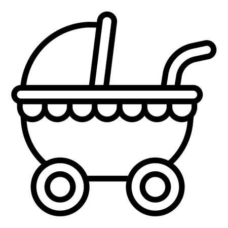 Baby pram icon. Outline baby pram vector icon for web design isolated on white background Vecteurs