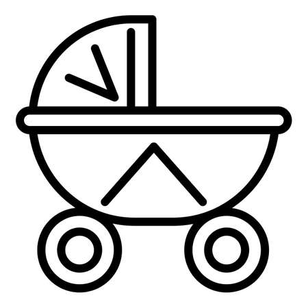 Baby textile pram icon. Outline baby textile pram vector icon for web design isolated on white background