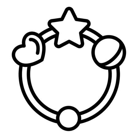 Baby toy crib icon. Outline baby toy crib vector icon for web design isolated on white background