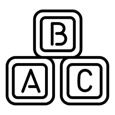 Abc cube toys icon. Outline abc cube toys vector icon for web design isolated on white background Illusztráció