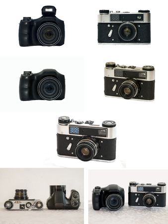 rangefinder: Ultrazoom camera and a classic rangefinder camera. A series of images in a single image.