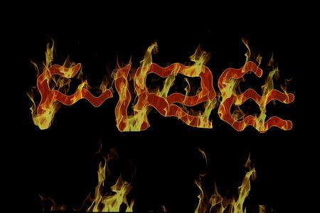 lurid: Fire. The word fire in flames. Stock Photo