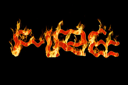enveloped: Fire. The word fire in flames. Stock Photo