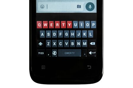 qwerty: Smartphone. Touch qwerty keyboard smart phone on an isolated white background. The horizontal orientation of the image.
