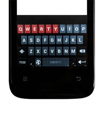 qwerty: Smartphone. Qwerty keyboard touch screen smartphone on an isolated white background. Vertical orientation image.