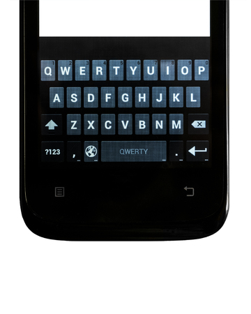 vertical orientation: Smartphone. Keyboard touch screen smartphone on an isolated white background. Vertical orientation image. Stock Photo