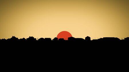 reveille: Sunset  sunrise over the suburbian roofs. Dark skyline in the backlighting.