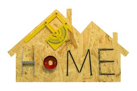 gable home renovation: Home repair concept. Fixing materials and tools on a sheet of OSB in the form of home. Isolated objects on a white background.