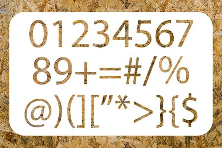 osb: Numbers and symbols with OSB texture isolated on a white background Stock Photo