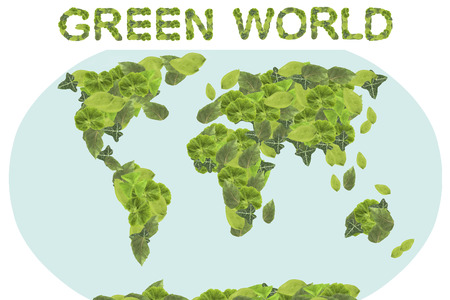 frondage: Green world concept. Earth Day. Concept ecology. World globe with the continents of natural leaves. Stock Photo