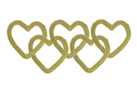 aureate: Sonnected gold hearts. Chain of gold hearts. Gold (aureate) bead on a white background. Stock Photo
