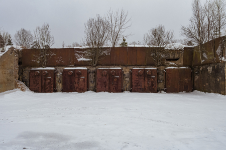 cold war: Nuclear bunker. Nuclear bomb shelter. Old abandoned Soviet Cold War bunker in forest. Nuclear bunker of Soviet Union, intended for storage of military equipment and personnel during a nuclear attack.