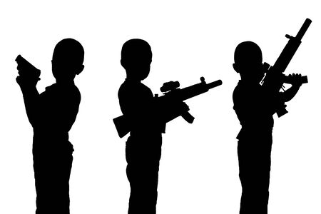 sullenly: Set of black silhouettes. Boy child with a toy gun isolated on a white background. Monochrome image.