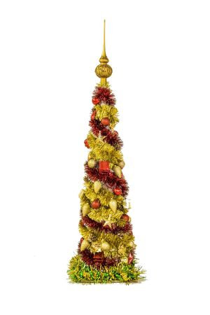 trumpery: Shining decorative Christmas tree made of tinsel isolated on white background