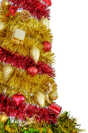 trumpery: Detail of colorful decorative Christmas tree from the tinsel isolated on white background. Stock Photo