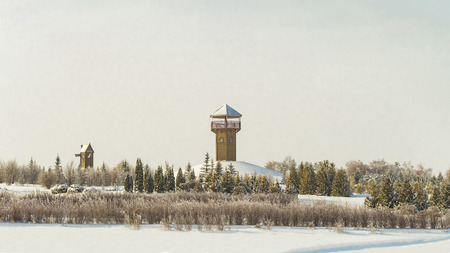 Snowy botanical park in January. Winters Tale in the botanical garden. Lookout tower. Stock Photo