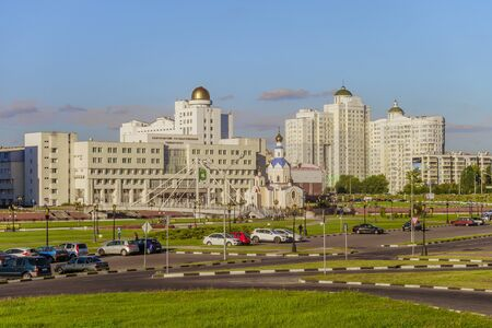outumn: BELGOROD, RUSSIA - SEPTEMBER 10, 2016: General view of the residential complex, temple of Archangel Gabriel, promenade, main building and observatory of the International of the Belgorod State University. Campus. Editorial