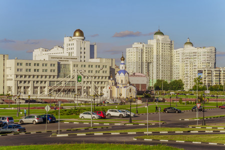 BELGOROD, RUSSIA - SEPTEMBER 10, 2016: General view of residential complex, temple of Archangel Gabriel, promenade, main building and observatory of International of Belgorod State University. Campus.