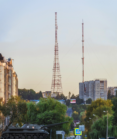 outumn: View of the TV towers of city Belgorod. Tanks memorial.