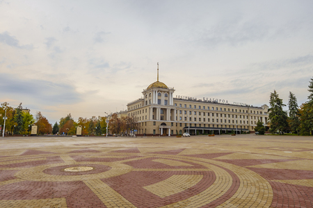 outumn: Cathedral square of the Belgorod city. View of the hotel Belgorod and Holy Trinity Boulevard.