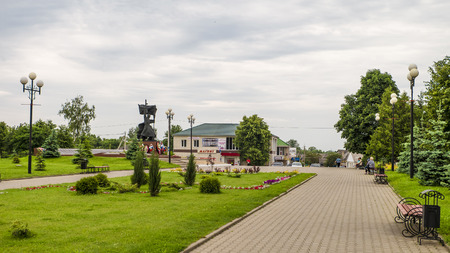 conveniences: TOMAROVKA, BELGOROD REGION, RUSSIA - JUNE 11, 2016: Village Tomarovka Belgorod region. Russian province. Typical provincial land improvement Russian countryside and small towns.